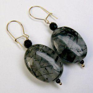 Ben Moss Jewelry - 14KY GOLD Tourmalated Quartz & Black ONYX Earrings
